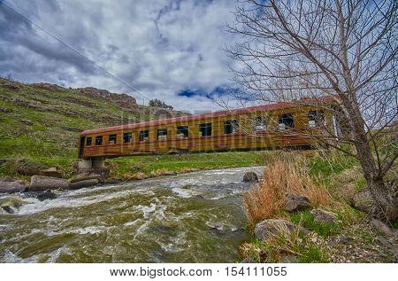 Surreal Rusty Bridge in Georgia made of Abandoned Train Car