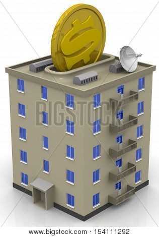 Savings for apartment purchase. Apartment house stylized as piggy bank with a coin of the US dollar. Isolated. 3D Illustration