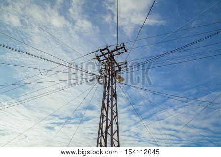 electric cables on the transmission line under a blue sky