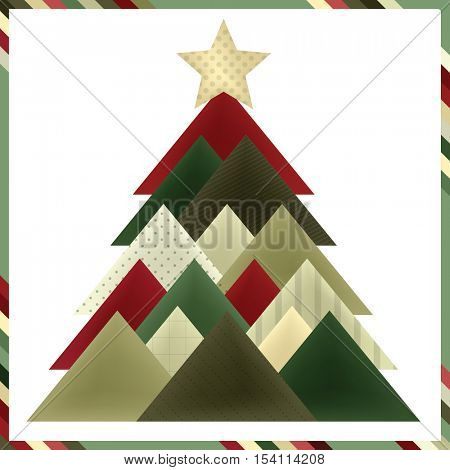 Christmas tree greeting card in traditional colors