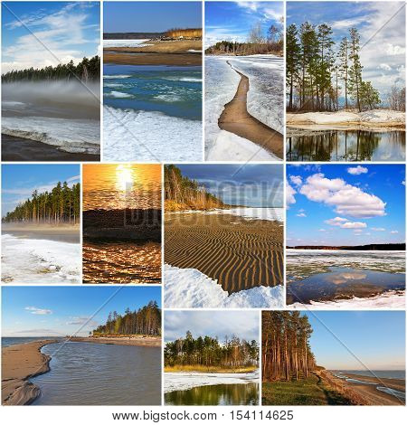 Collage of photos - Spring landscape. The river Ob and the Ob reservoir Novosibirsk oblast Siberia Russia