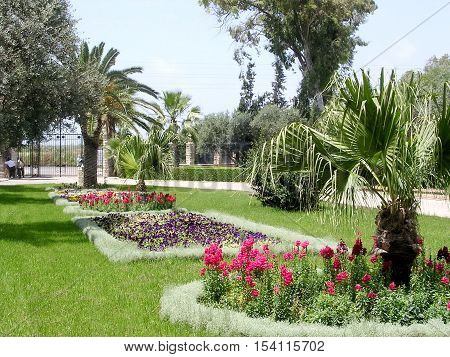 Flowerbeds in Bahai garden near Akko Israel May 11 2004
