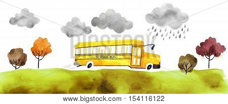Beautiful cartoon school bus isolated on white background. Hand drawn watercolor school bus with autumn trees and grass and clouds for your design.