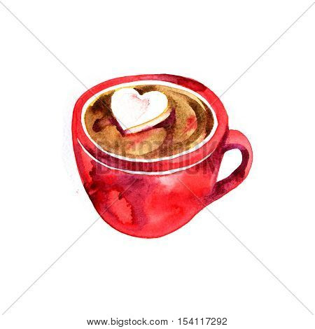 Beautiful red cup. Hot chocolate and marshmallows. Watercolor illustration for a card or poster, print on clothes. Drawing for the cover of a notebook or a menu. Cocoa.