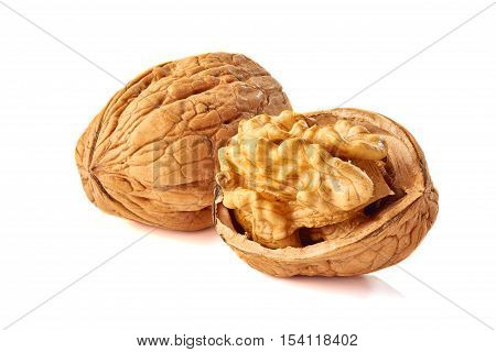 Walnut kernel and whole walnut isolated on white background