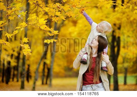 Young mother and her toddler girl have fun at autumn