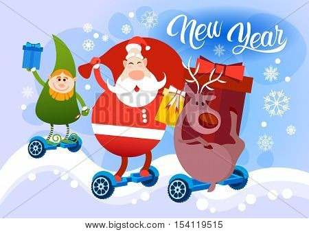 Reindeer Santa Claus Elf Ride Electric Hover Board Happy New Year Holiday Merry Christmas Flat Vector Illustration