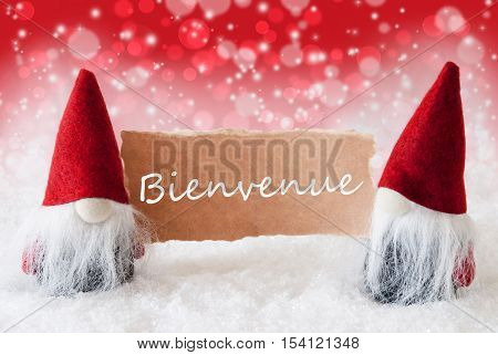 Christmas Greeting Card With Two Red Gnomes. Sparkling Bokeh And Christmassy Background With Snow. French Text Bienvenue Means Welcome