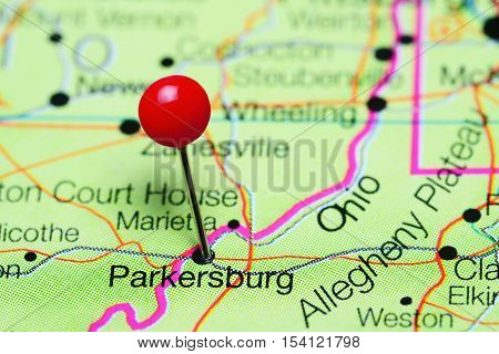 Parkersburg pinned on a map of West Virginia, USA