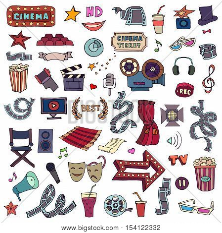 Set With Hand Drawn Doodle Colorful Cinema Set. Movie Making Icons. Film Symbols Collection.