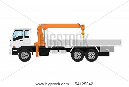 Commercial truck mounted crane isolated on white background vector illustration. Modern mobile hydraulic crane side view. Vehicle for cargo transportation service. Design truck element. Truck icon. Freight and work vehicles, truck.
