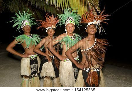 Young Polynesian Pacific Island Tahitian Men Dancers