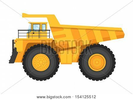 Big and heavy mining truck isolated on white background vector illustration. Modern dump truck side view. Vehicle for cargo transportation service. Design element for your projects. Mining industry. Design truck element. Truck icon. Freight and work vehic