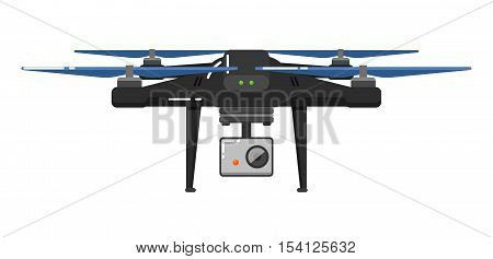 Drone aircraft in flat design isolated on white background. Drone technology with remotely controlled flying robot vector illustration. Multicopter with camera. Unmanned aerial vehicle. Flying device. Drone icon. Vector drone sign.