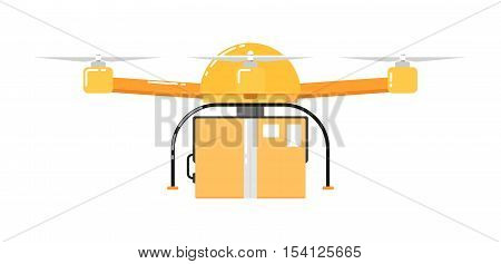 Drone aircraft isolated on white background. Drone technology with remotely controlled flying robot vector illustration. Multicopter with delivery. Unmanned aerial vehicle. Flying device. Drone icon. Vector drone sign.