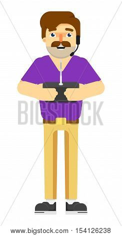 Man with holding radio remote controler vector illustration isolated on white background. Drone using with tablet or smartphone. Funny man with controler isolated. Man character vector illustration. Man with radio remote controler. Drone remote controler.