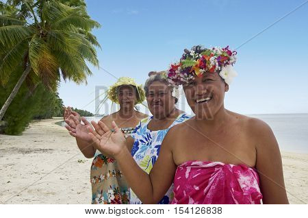 Portrait Of Polynesian Pacific Island Tahitian Mature Woman Aitutaki Lagoon Cook Islands
