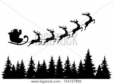 vector illustration of Santa Claus flying with deer over trees