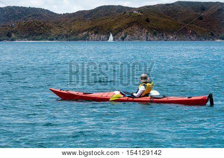 Woman rows a sea kayak in the bay of Island New Zealand. Very popular travel destination of NZ