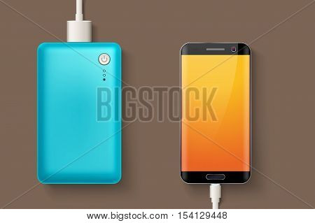 illustration of blue powerbank connected to smartphone by micro usb cable on brown background