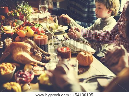 People Holding Hands Praying Thanksgiving Celebration Concept