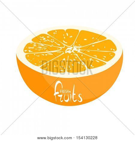 Half of the juicy orange on a white background