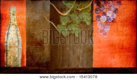 Old Wall Painting With Wine Bottle, Grapes and Leaves