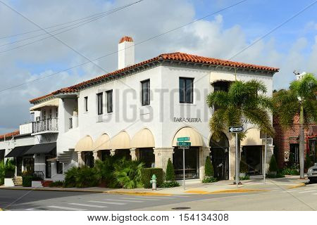 PALM BEACH, FL, USA - JAN 2, 2015: Parasutra is a historic building on 234 S County Rd in Palm Beach, Florida, USA.