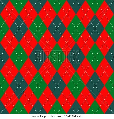 Christmas colors seamless argyle pattern. Festive ornament for DIY Christmas paper craft projects, scrapbooking, card making, table decoration & textile prints.