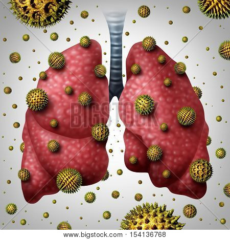 Lung allergy medical concept as human lungs with airborne pollen grains infecting the breathing organ as an asthma trigger or allergic reaction symbol with 3D illustration elements.