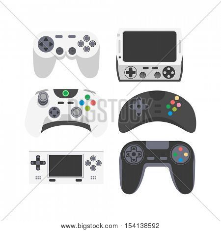 Video game icons set. Collection of gaming devices. Flat style vector illustration.