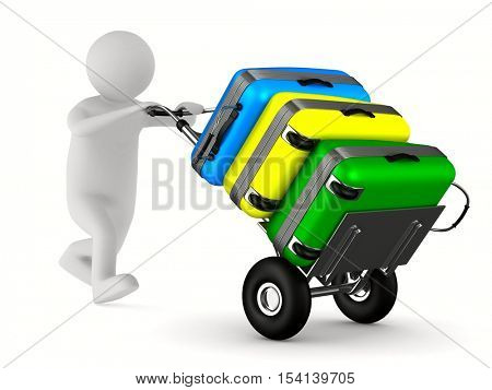 hand truck with bags on white background. Isolated 3D image