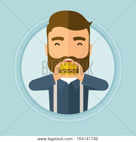 Caucasian hipster man eating hamburger. Happy man with eyes closed biting hamburger. Man is about to eat delicious hamburger. Vector flat design illustration in the circle isolated on background.