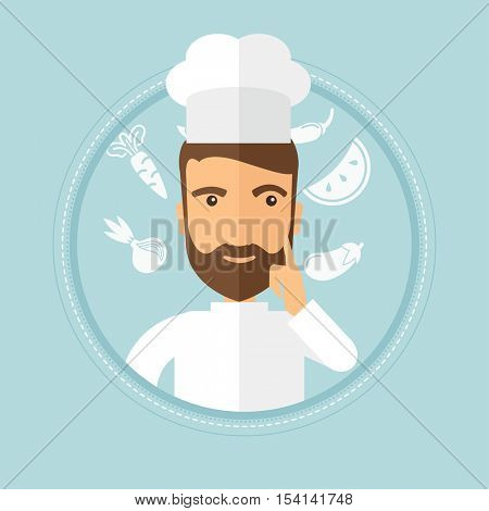 Caucasian hipster chief-cooker with beard pointing forefinger up. Chef in uniform thinking about the recipe. Chef having an idea. Vector flat design illustration in the circle isolated on background.