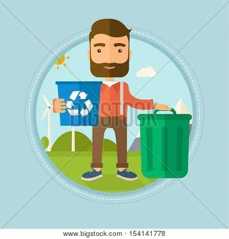 Hipster man with beard carrying recycling bin. Man with recycling bin standing near a trash can on the background of wind turbine. Vector flat design illustration in the circle isolated on background.