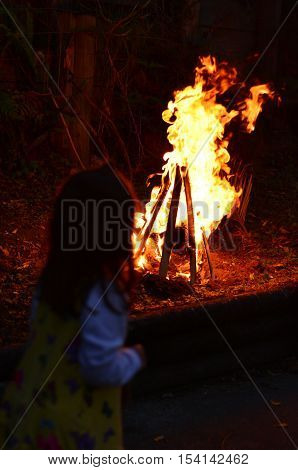 Little Girl Celebrate Lag Ba'omer Jewish Holiday