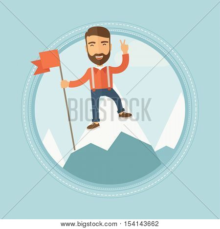 Happy young hipster caucasian man with the beard holding a red flag on the top of the mountain. Cheerful winner and leader concept. Vector flat design illustration in the circle isolated on background