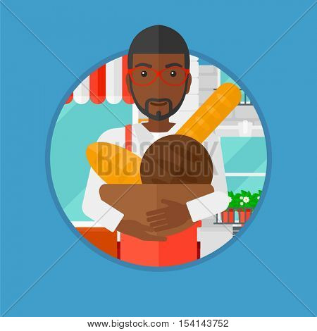 An african-american baker holding basket with bakery products. Baker standing in front of bakery. Baker with bowl full of bread. Vector flat design illustration in the circle isolated on background.