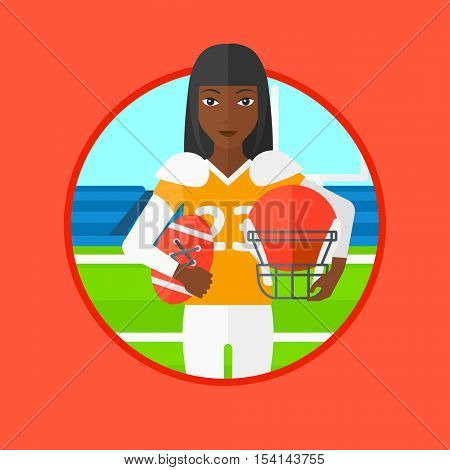 An african-american young professional rugby player holding ball and helmet in hands. Woman in uniform standing on rugby stadium. Vector flat design illustration in the circle isolated on background.