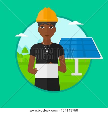 African-american worker of solar power plant. Worker with tablet computer at solar power plant. Worker checking solar panel setup. Vector flat design illustration in the circle isolated on background.
