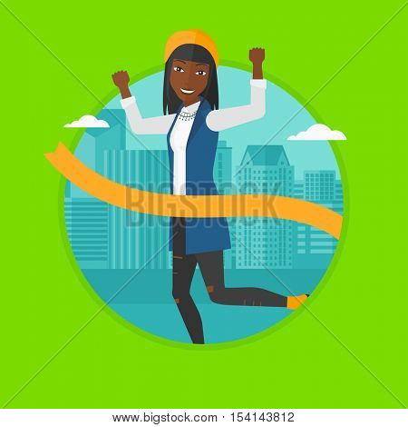 An african-american business woman running at the finish line. Business woman crossing finish line. Concept of business success. Vector flat design illustration in the circle isolated on background.
