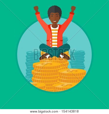 An african-american happy businessman with raised hands sitting on golden coins. Successful business and cheerful leader concept. Vector flat design illustration in the circle isolated on background.