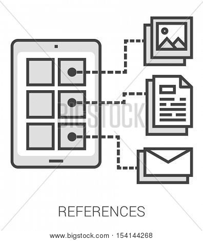 References infographic metaphor with line icons. Project references concept for website and infographics. Vector line art icon isolated on white background.
