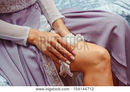 The Bride Wears A Garter On The Leg, The Preparations For The Wedding