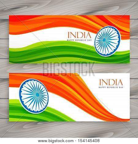 Indian Flag Banners Background Vector Design Illustration