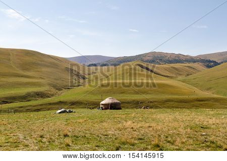Yurt In A Pasture In The Mountains