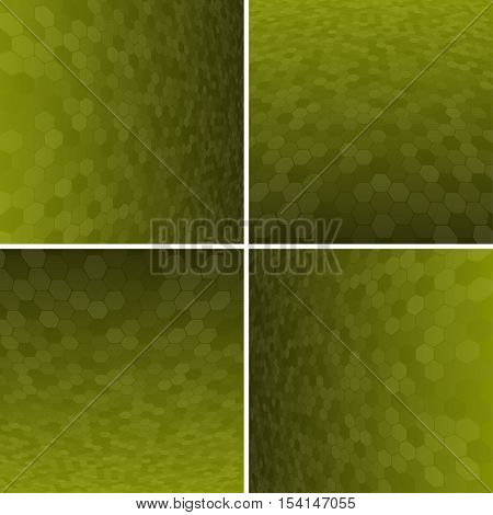 Set Abstract Honeycomb Halftone Effect Vector Background. Perspective Halftone Vector Background. Vector Background with Copy-Space. Yellow Perspective Background. Vector illustration for Web Design.