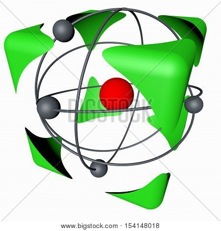 The concept of safety of nuclear energy, color, white background. 3d rendering.