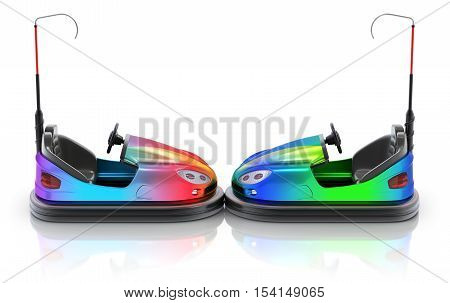 Side view of colorful electric bumper car over white reflective background - 3d illustration