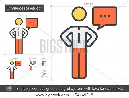 Conference speaker vector line icon isolated on white background. Conference speaker line icon for infographic, website or app. Scalable icon designed on a grid system.